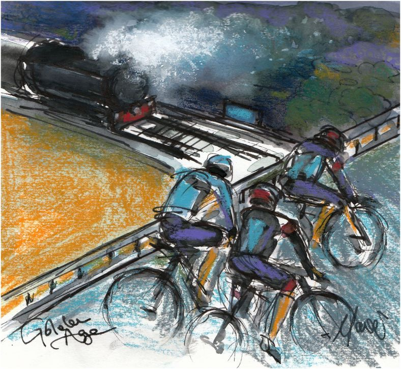 Tour de Yorkshire, cycling art, steam locomotive