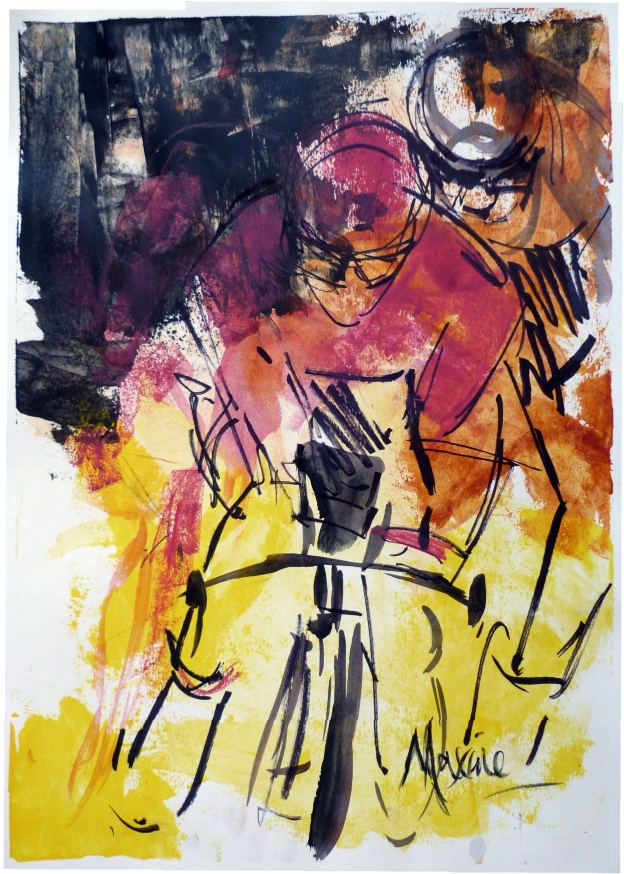 cycling art, Black, pink, yellow