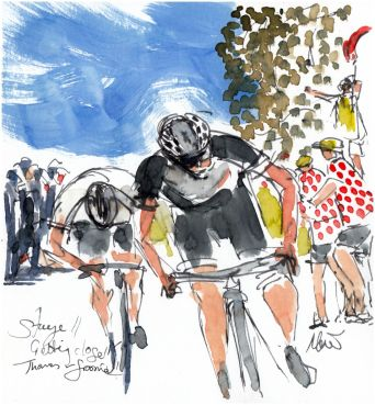 cycling art, tour de france, Stage 11 - Getting close... Thomas and Froome
