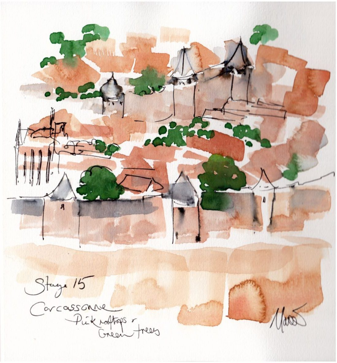cycling art, tour de france, Stage 15 - Carcassonne, pink rooftops and green trees