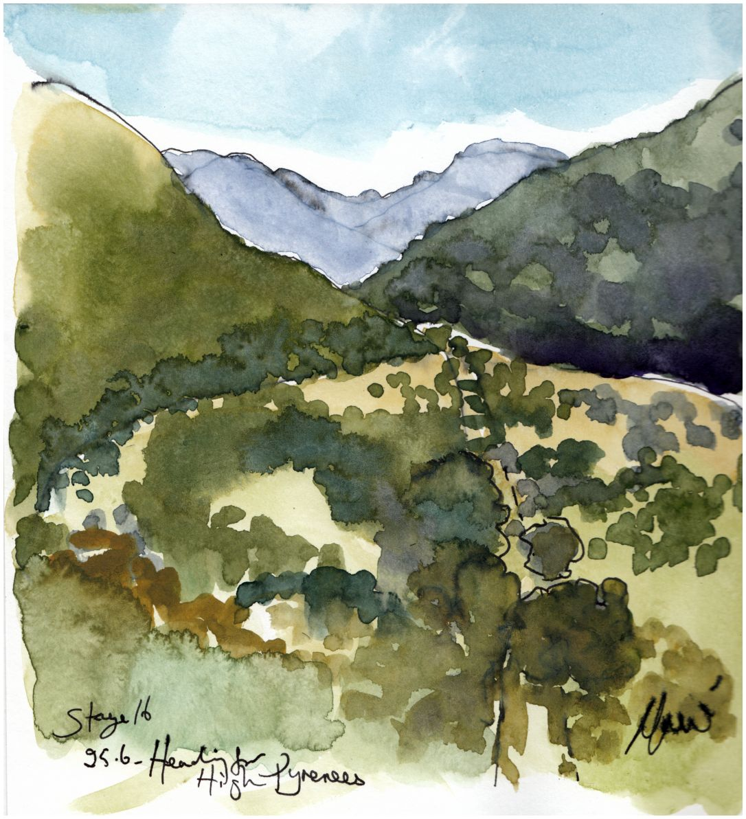 Cycling art, Tour de France, Stage 16 - Heading for the high Pyrenees..