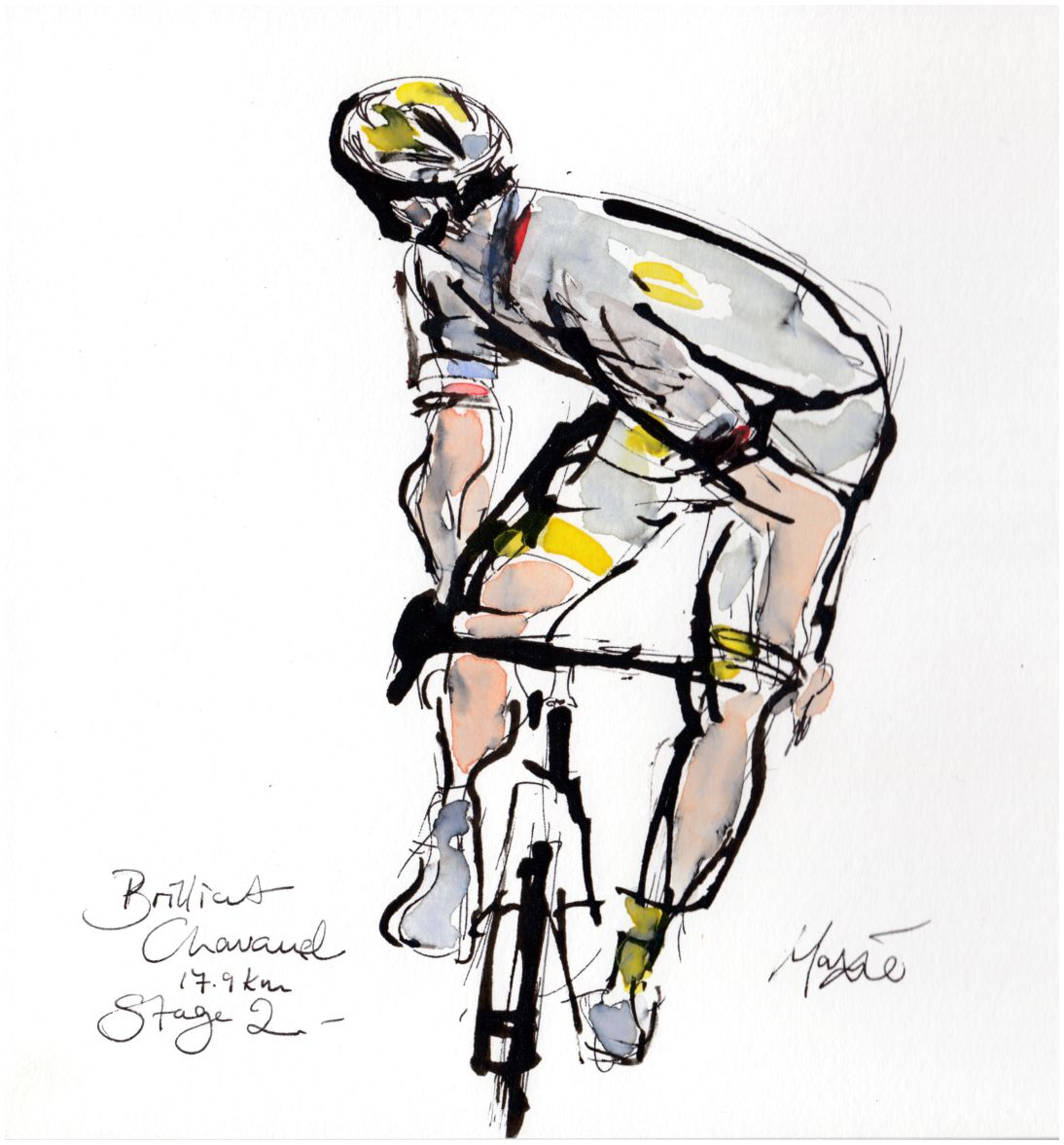 cycling art, tour de france, maxine dodd, sylvain chavanel