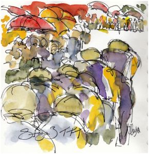 Cycling art, tour de france, mitchelton scott