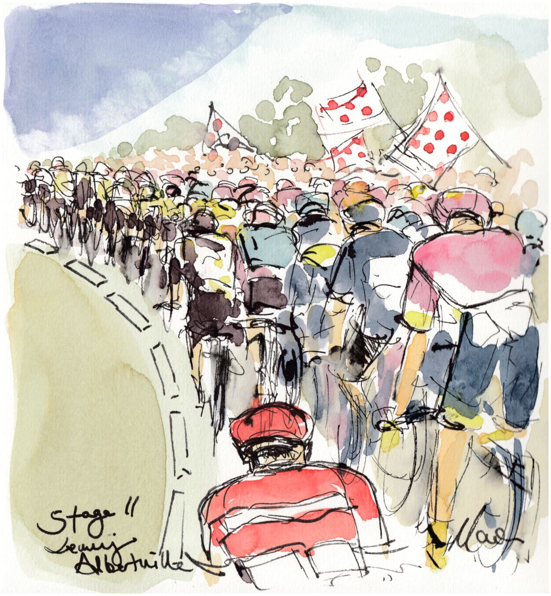 Cycling art, Tour de France, Stage 11, Leaving Albertville