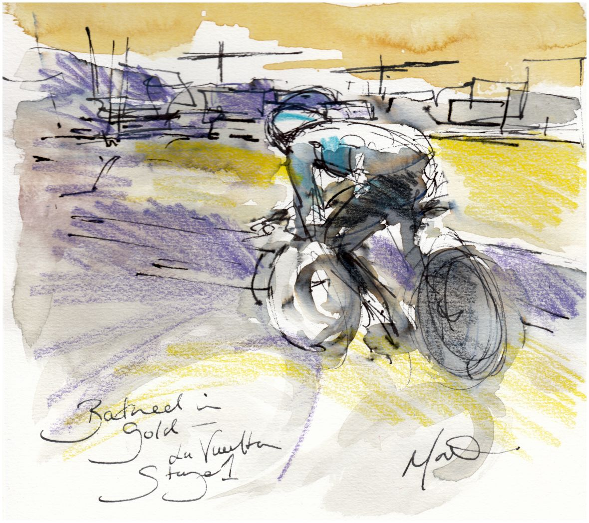 cycling art, la vuelta, watercolour, 'bathed in gold'