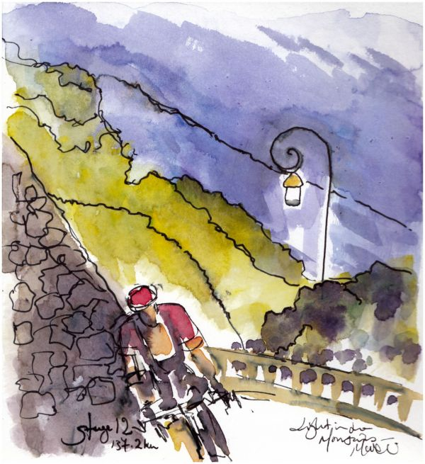 cycling, tour de france, light in the mountains, original watercolour, pen and ink