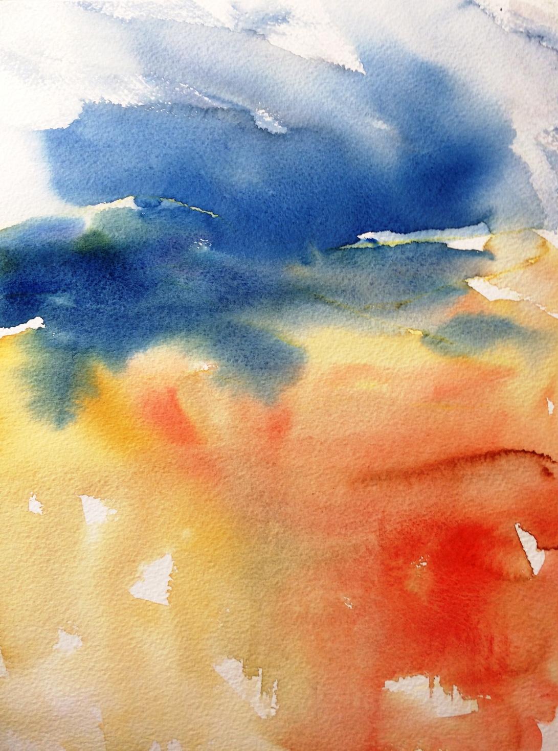 Watercolour painting, 'Autumn breeze'