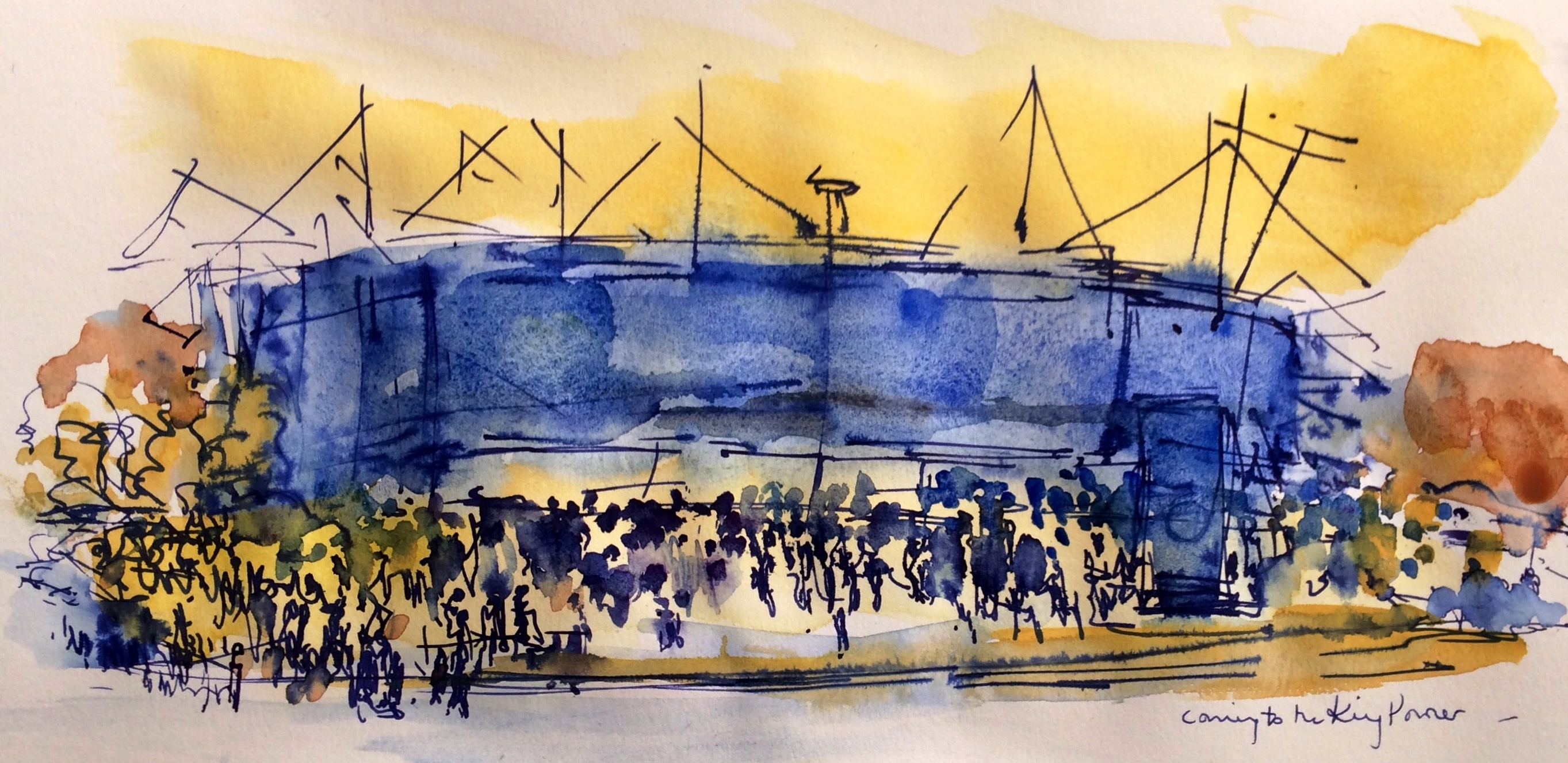 King Power Stadium, watercolour
