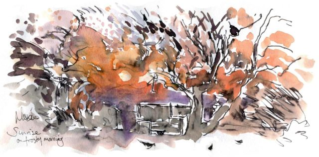 watercolour, pen and ink, frosty morning sunrise