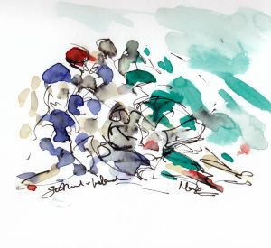 Rugby art, six nations, scrum sketch