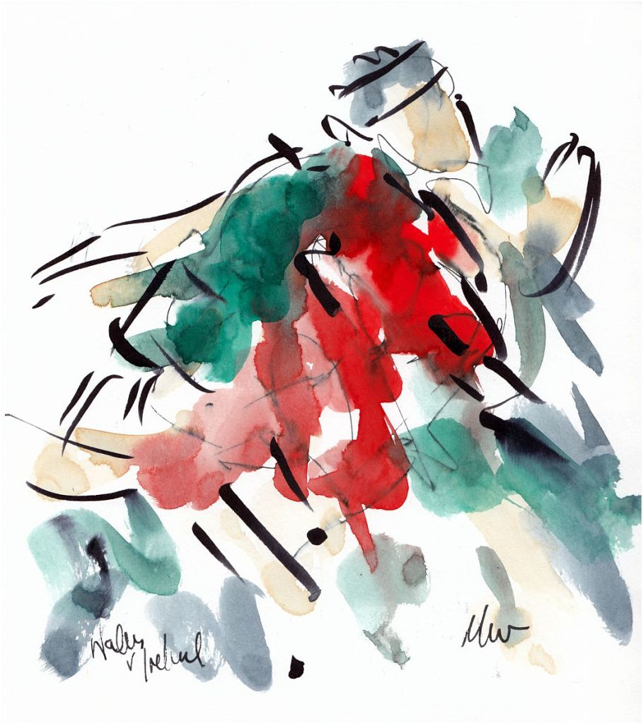 Rugby art, Six Nations, Wales v Ireland, pushing on