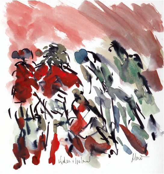 Six Nations, Rugby art, Wales v Ireland, Red sky