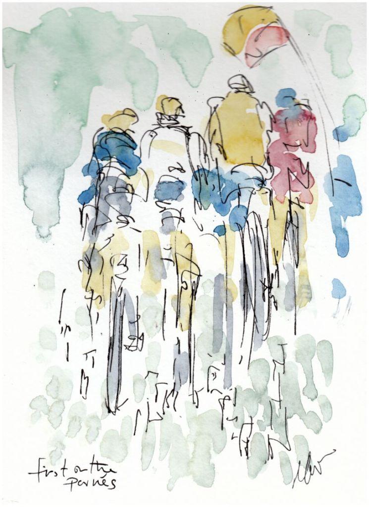 First on the pavés, cycling art
