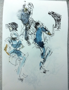 Pen sketch / wash - Cricket World Cup