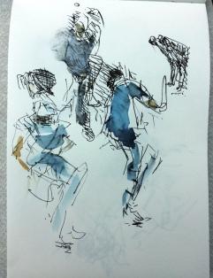 Pen sketch / wash - Cricket World Cup