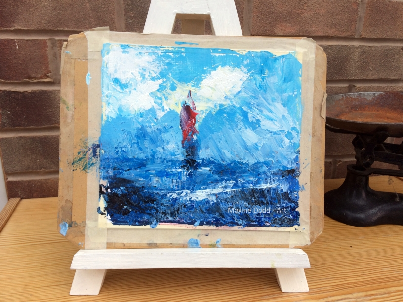 'A new departure' painting by Maxine Dodd, shown on the easel
