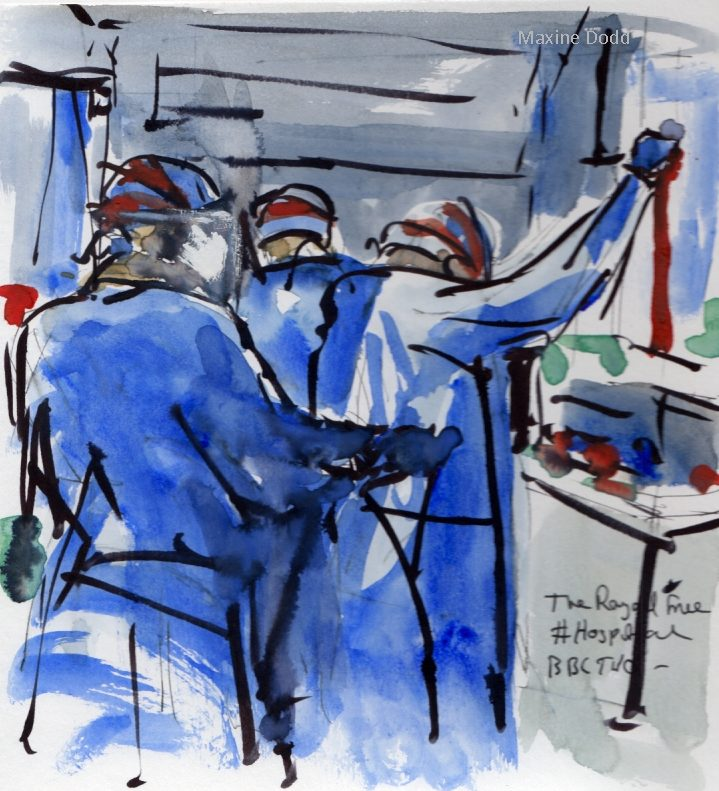 Hospital, critical care, healthworkers, watercolour pen and ink drawing