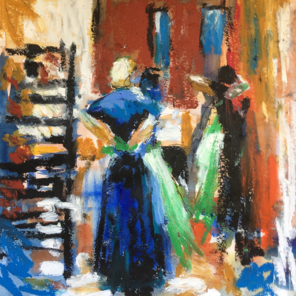 Green aprons, oil pastel by Maxine Dodd