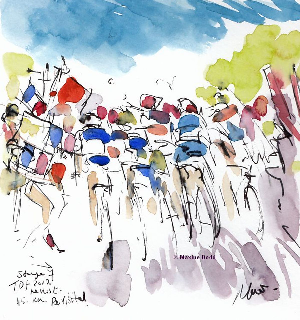 Tour de France Revisited, Stage 7, 45km, watercolour, by Maxine Dodd