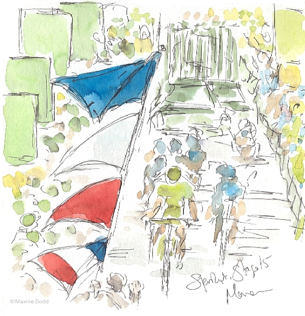 Tour de France 2013, Stage 15, Green Sprint, watercolour by Maxine Dodd