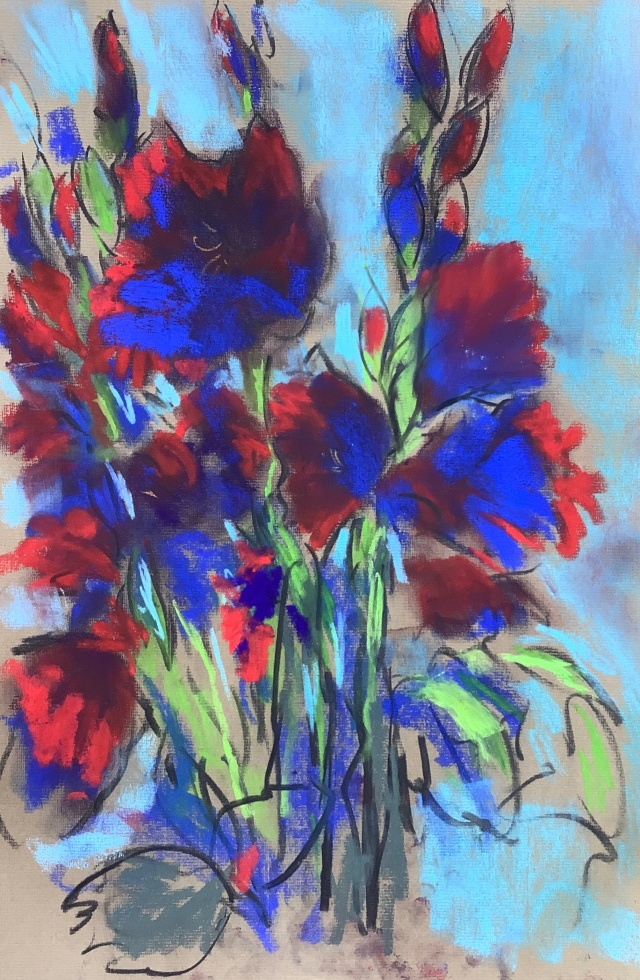 Gladioli pastel by Maxine Dodd