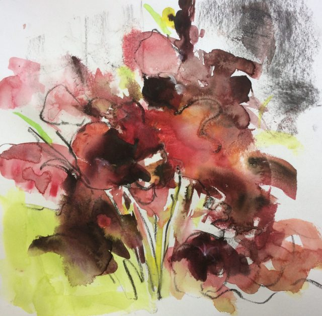 Especially Espresso, mixed media drawing of gladioli by Maxine Dodd