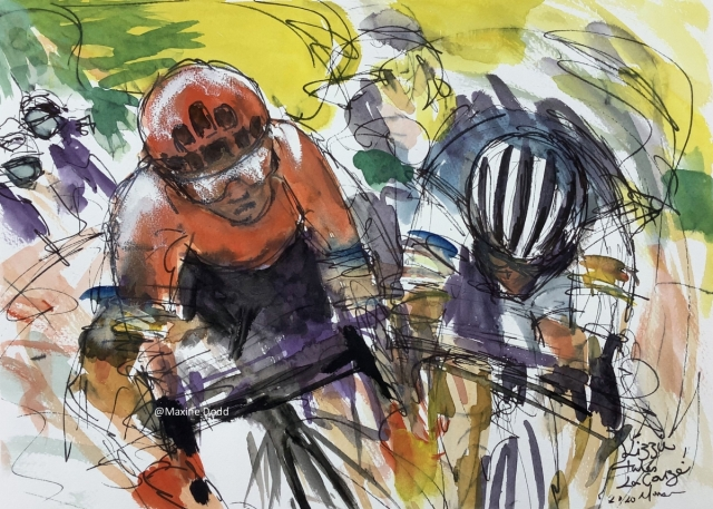 Lizzie takes the win! La Course 2020, watercolour, pen and ink by Maxine Dodd