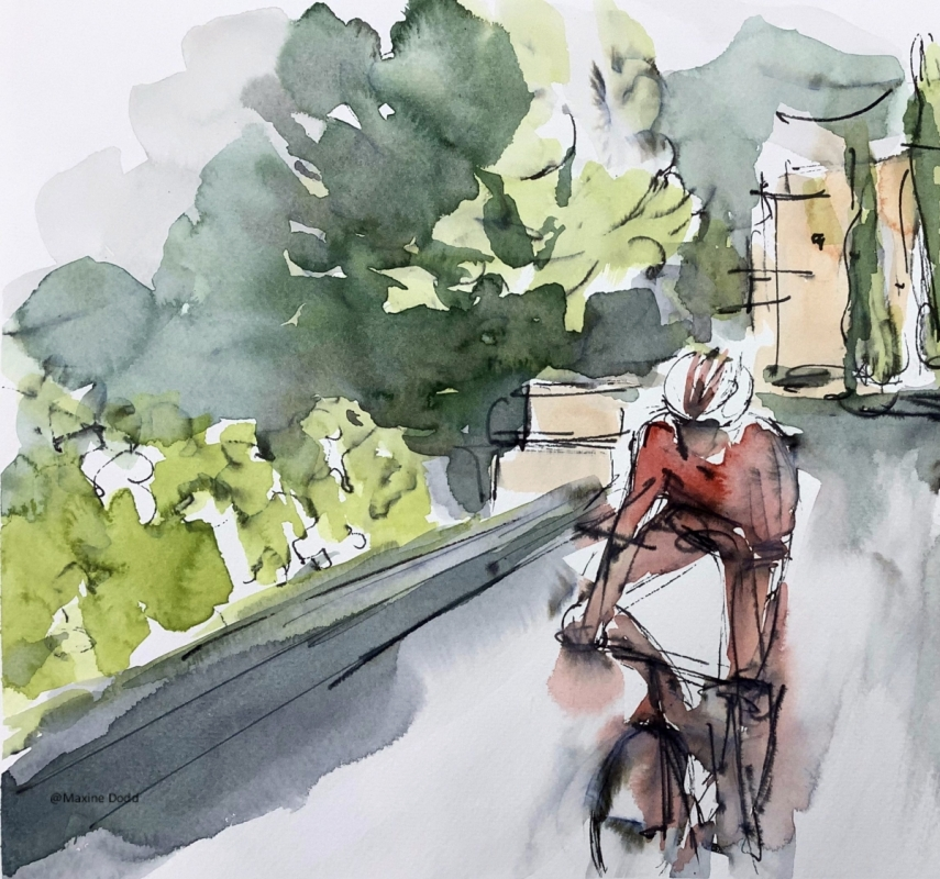 TDF2020 - Stage 1 - Rainy road, watercolour, pen and ink painting