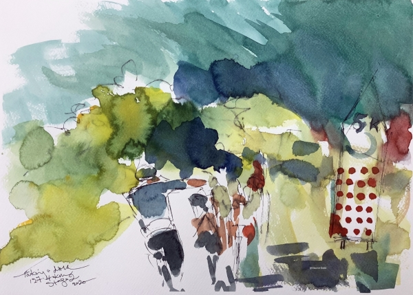 Taking a drink - watercolour, pen and ink image from Stage 2 of Tour de France by Maxine Dodd