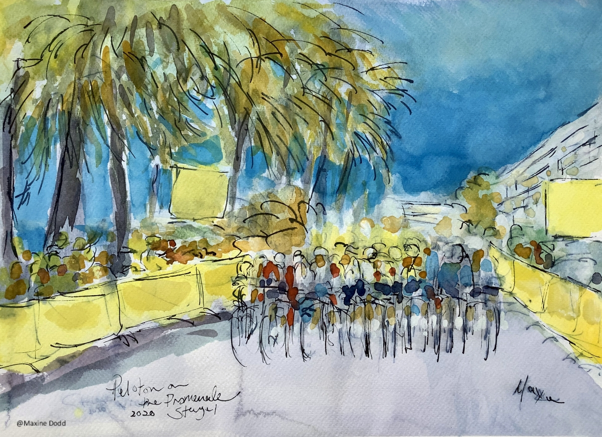 Stage 1: Peloton on the Promenade, watercolour pen and ink painting by Maxine Dodd
