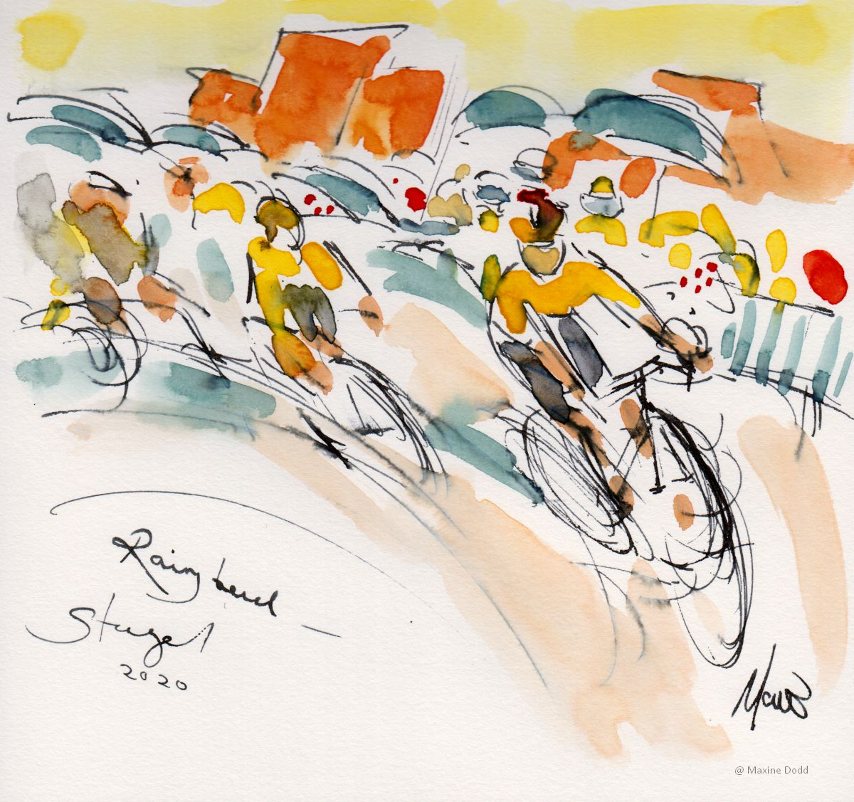 Jumbo-Visma team from Stage 1 TDF2020 on a rainy bend - watercolour pen and ink by Maxine Dodd