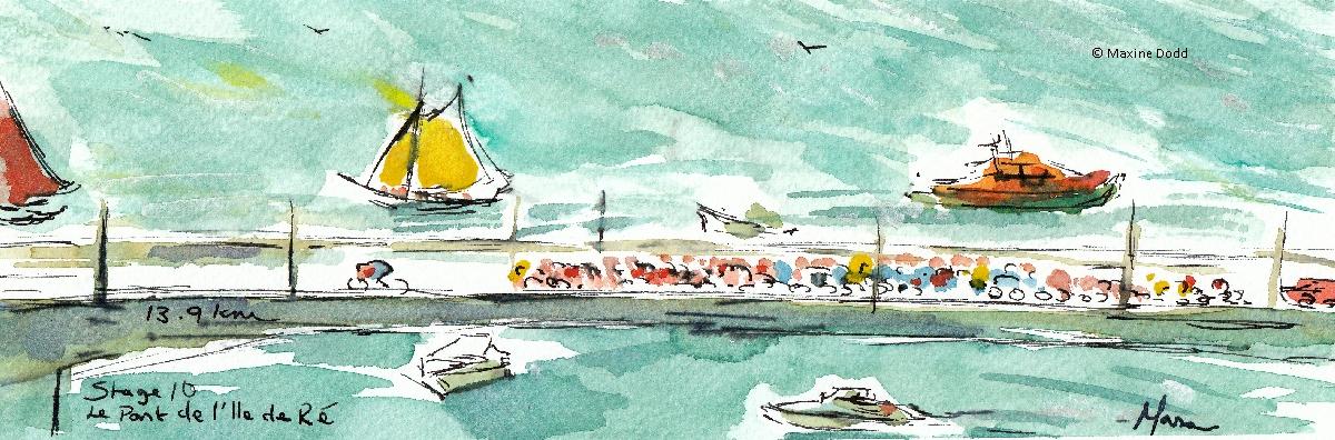 Le Pont de Île de Ré, 13.6km, watercolour, pen and ink by Maxine Dodd