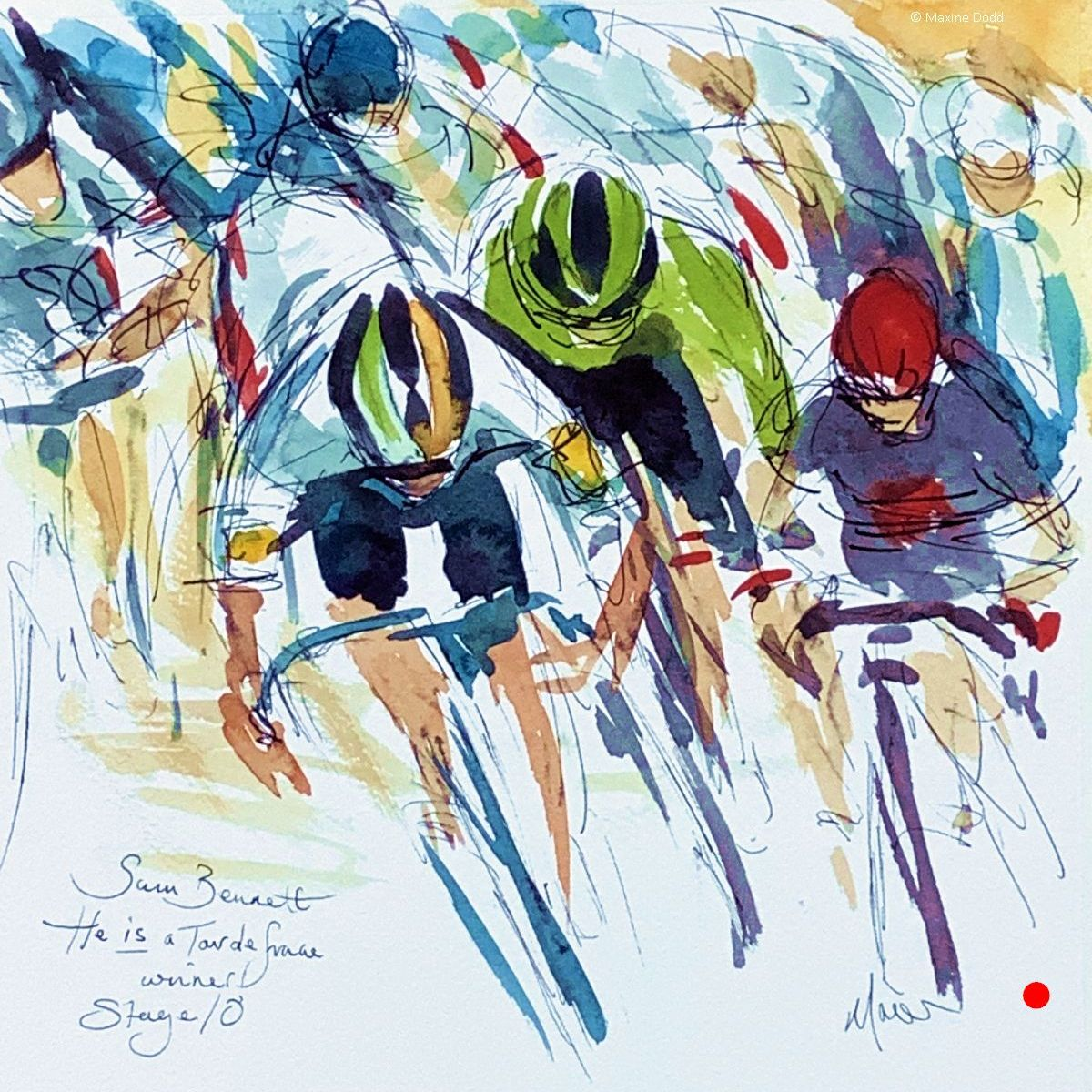 SOLD - Sam Bennett IS a Tour de France stage winner! Watercolour, pen and ink by Maxine Dodd