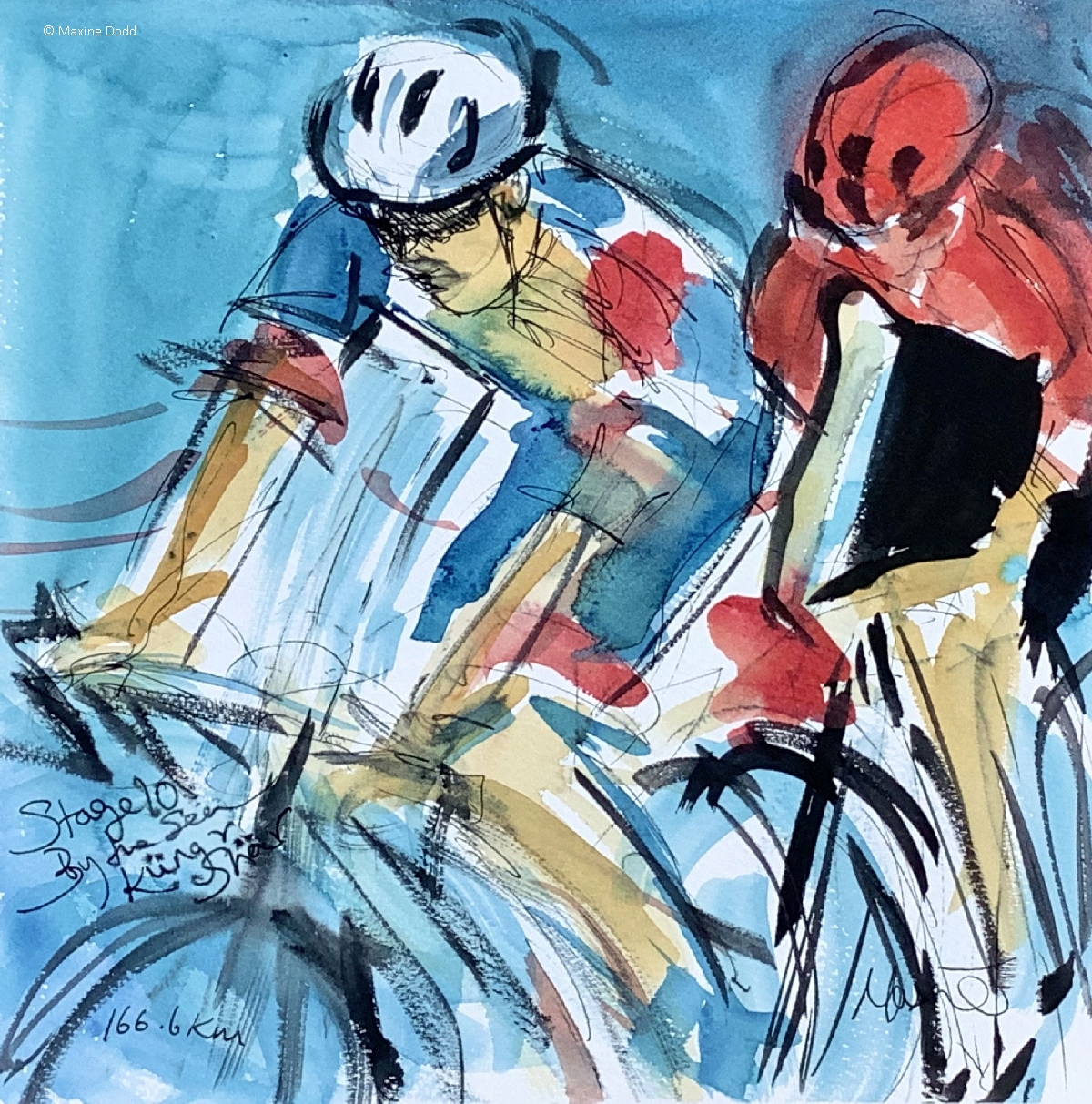 Swiss breakaway, 166.6KM, watercolour, pen and ink with gouache, by Maxine Dodd
