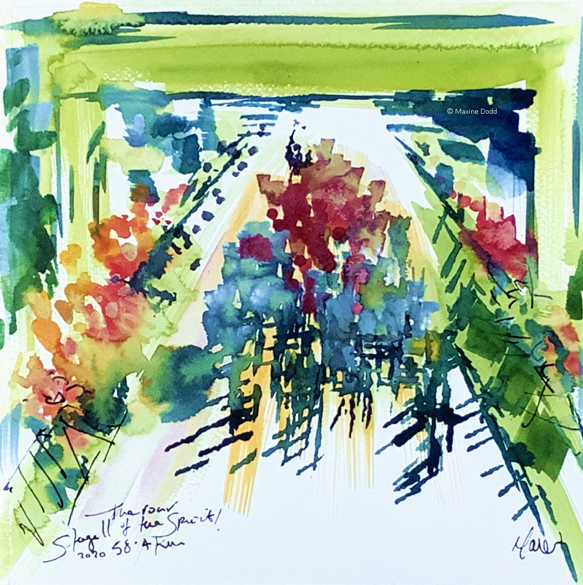 The roar of the sprint! watercolour, pen and ink by Maxine Dodd