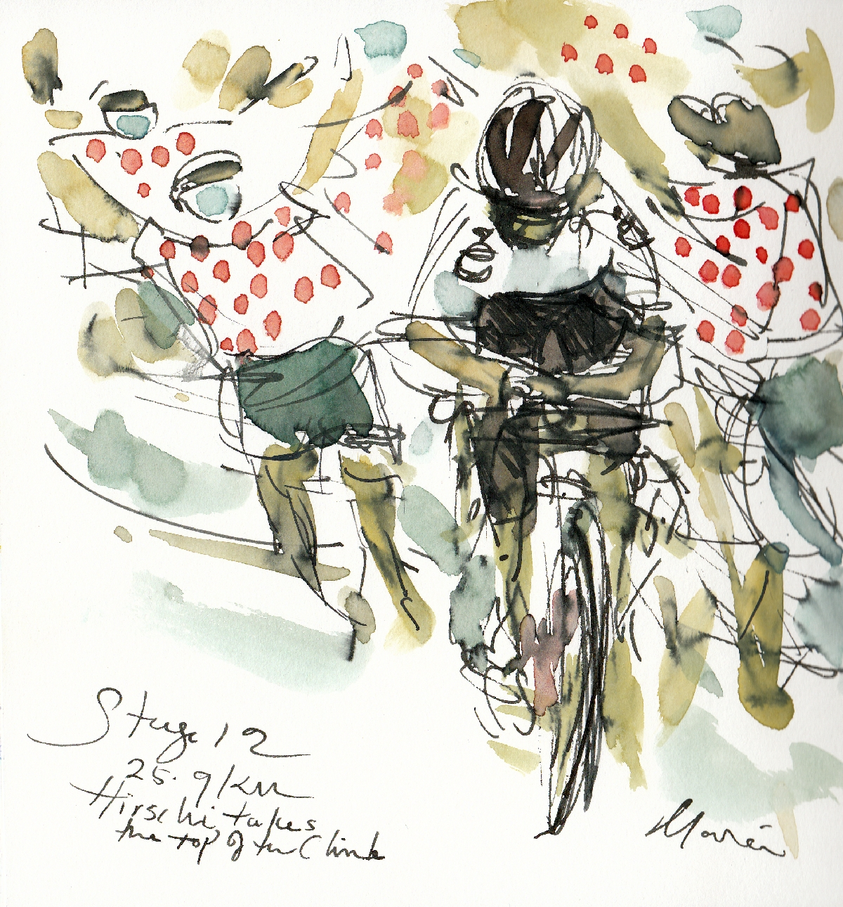 Hirschi takes the top of the climb, watercolour, pen and ink by Maxine Dodd