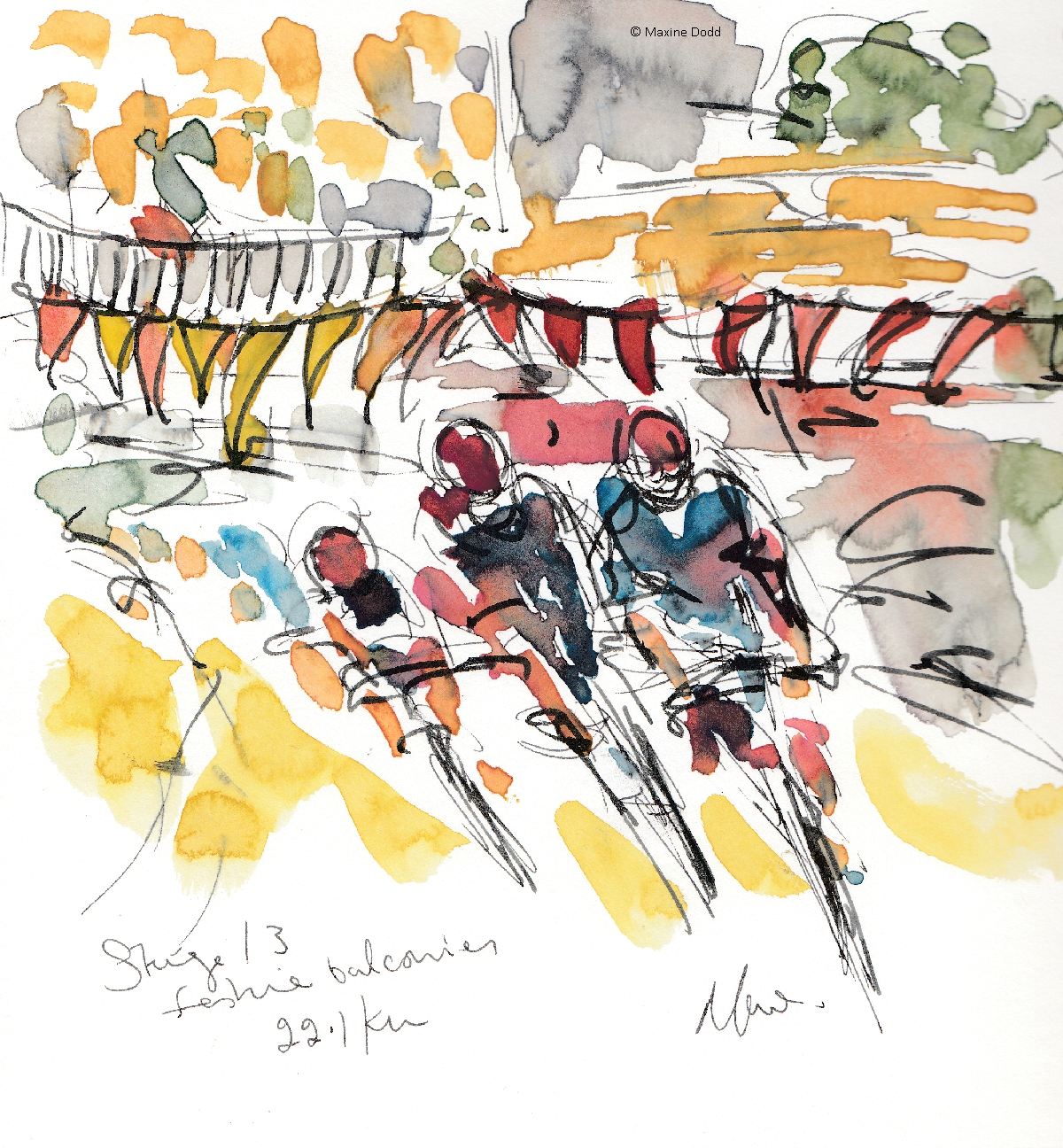 Festive flags! Watercolour, pen and ink by Maxine Dodd