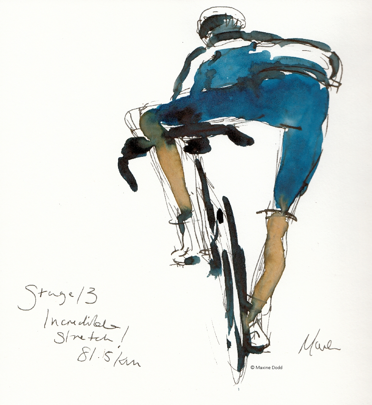 incredible stretch, watercolour, pen and ink, by Maxine Dodd