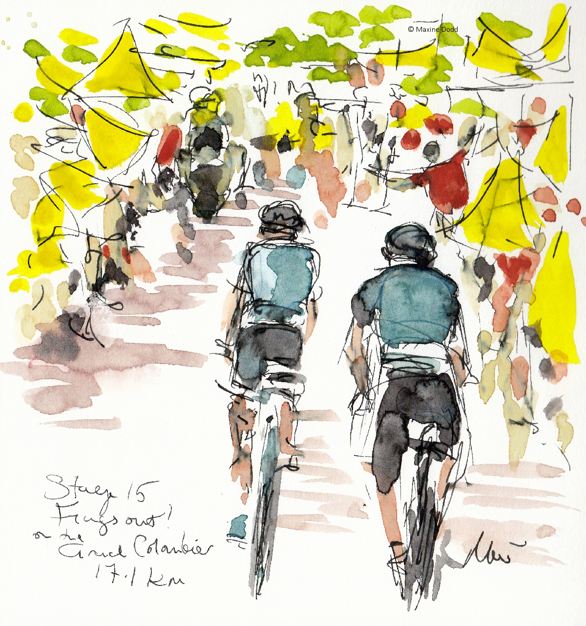 Flags out on the Grand Colombier, Stage 15, watercolour, pen and ink by Maxine Dodd
