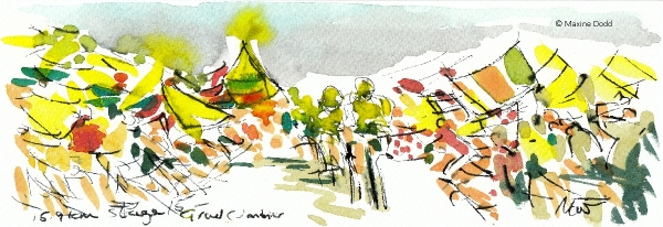 Grand Colombier, Stage 15, watercolour, pen and ink by Maxine Dodd