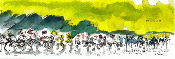 Long train... watercolour, pen and ink by Maxine Dodd