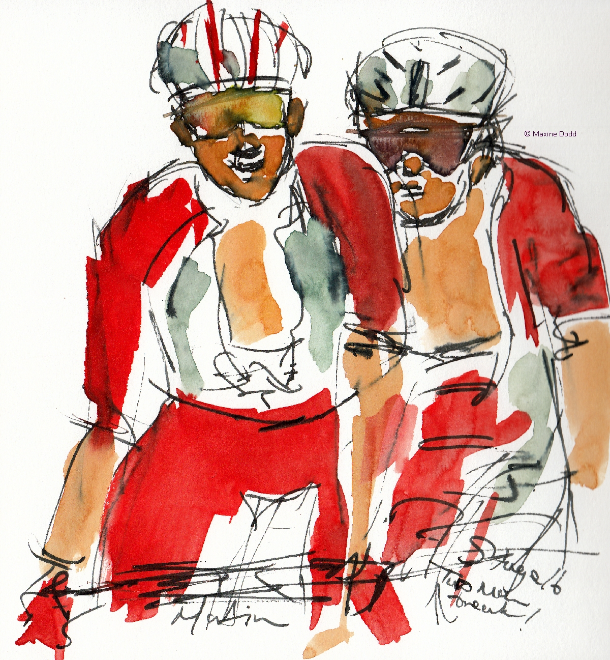 Two-man break, watercolour, pen and ink by Maxine Dodd