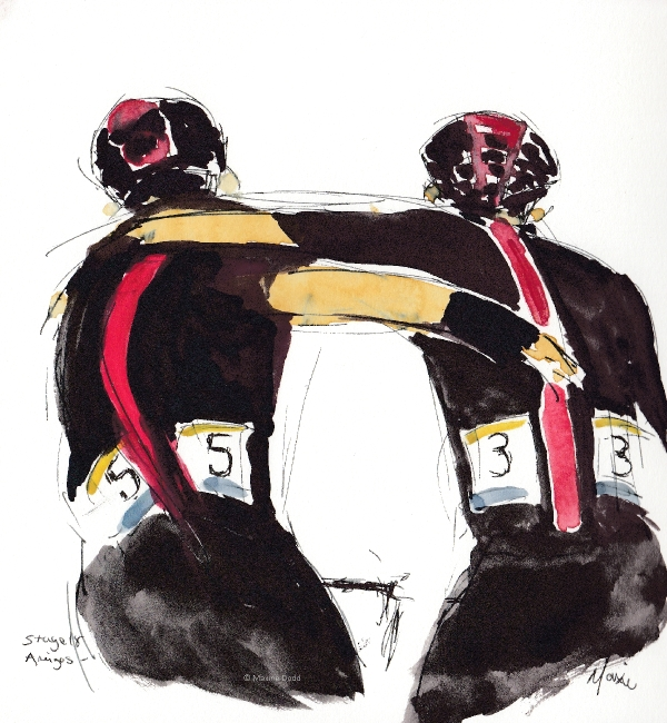 Amigos, watercolour, pen and ink by Maxine Dodd