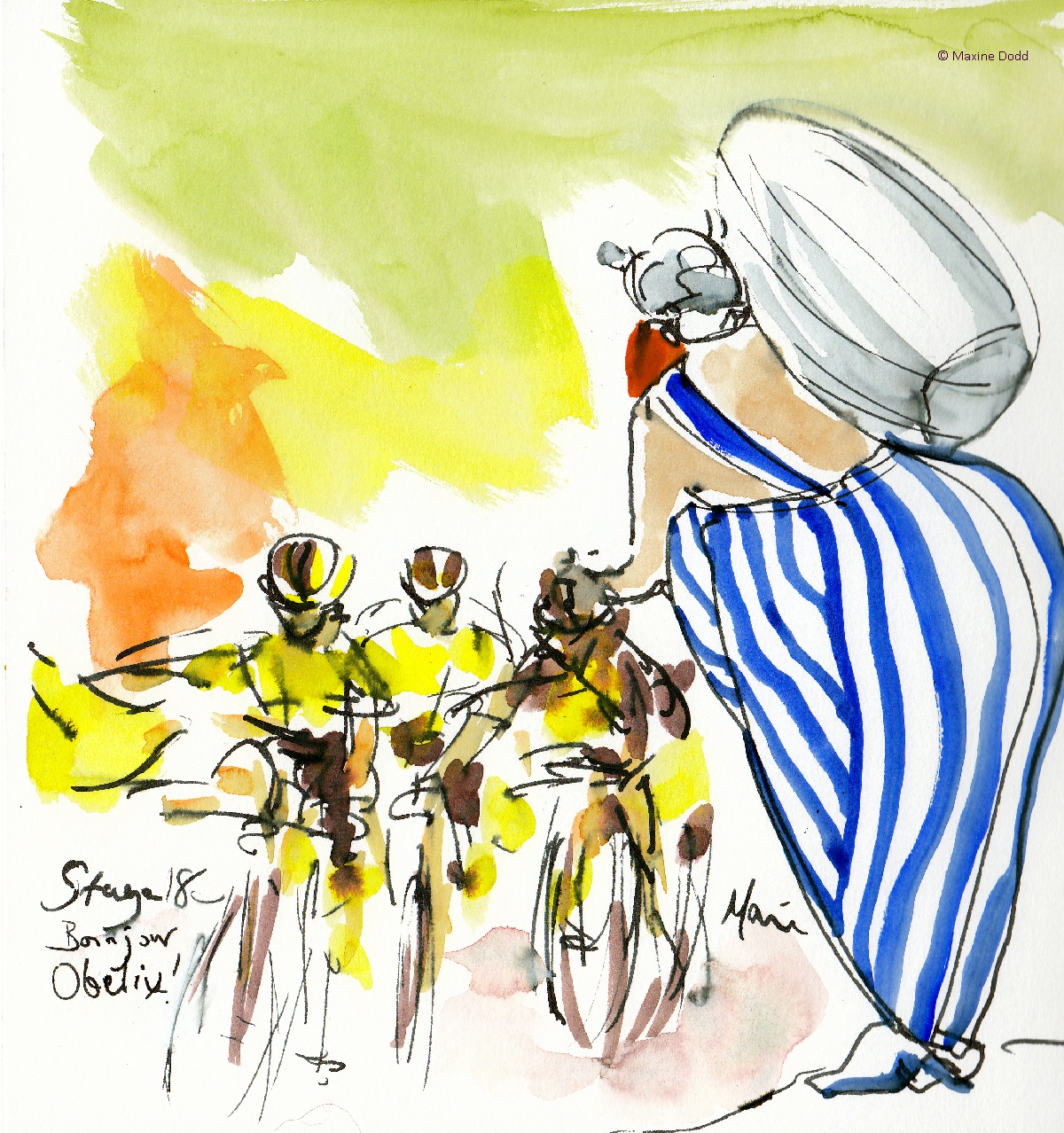 Bonjour Obelix! Watercolour, pen and ink by Maxine Dodd