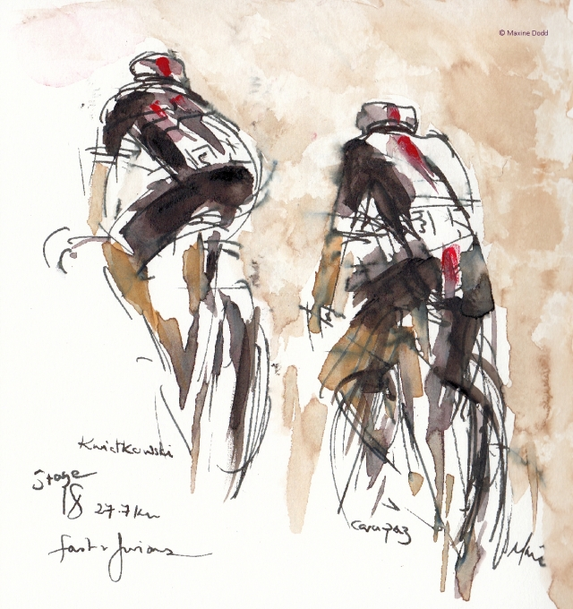 Fast and furious! Watercolour, pen and ink by Maxine Dodd