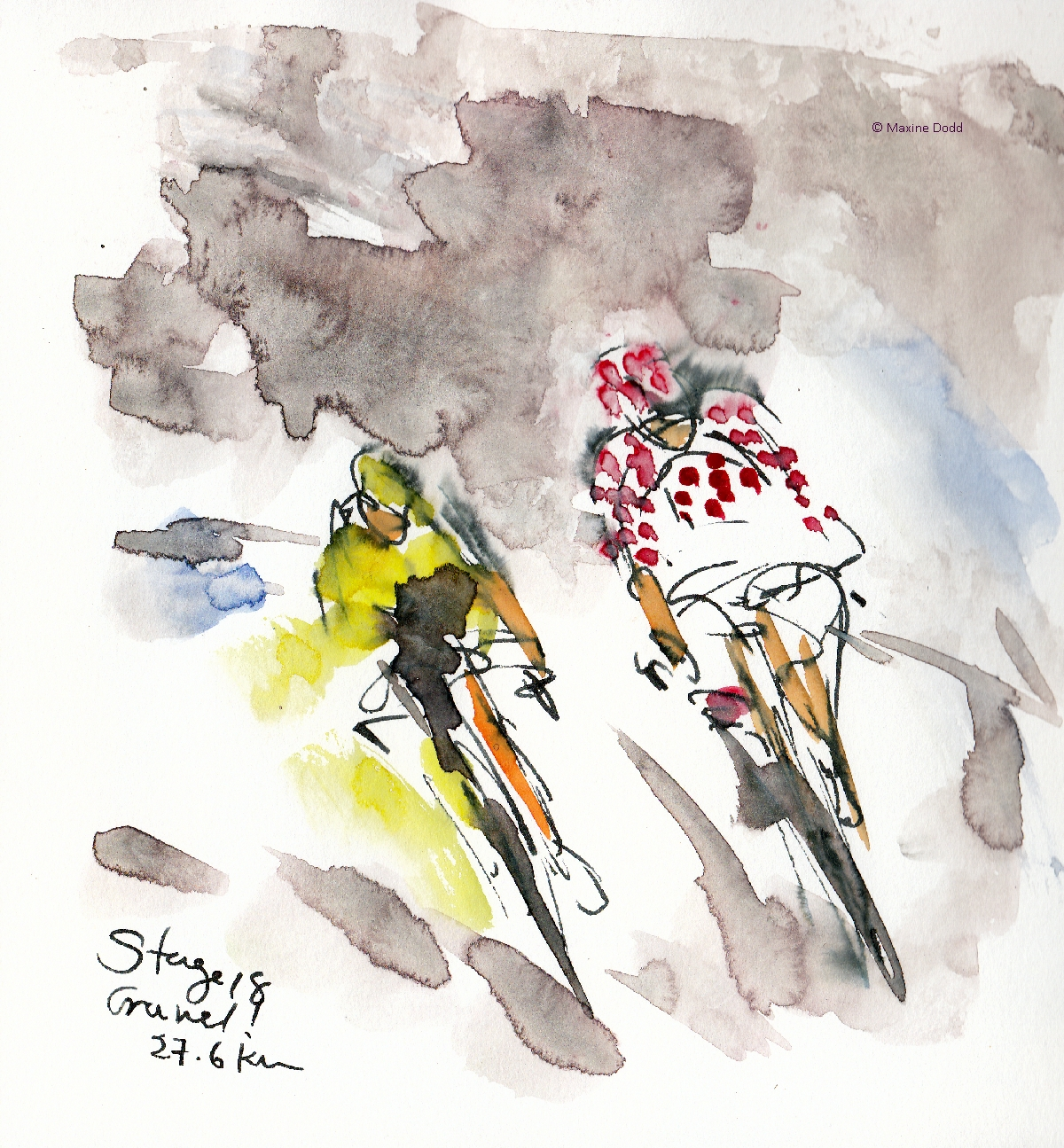 Gravel! Watercolour, pen and ink by Maxine Dodd