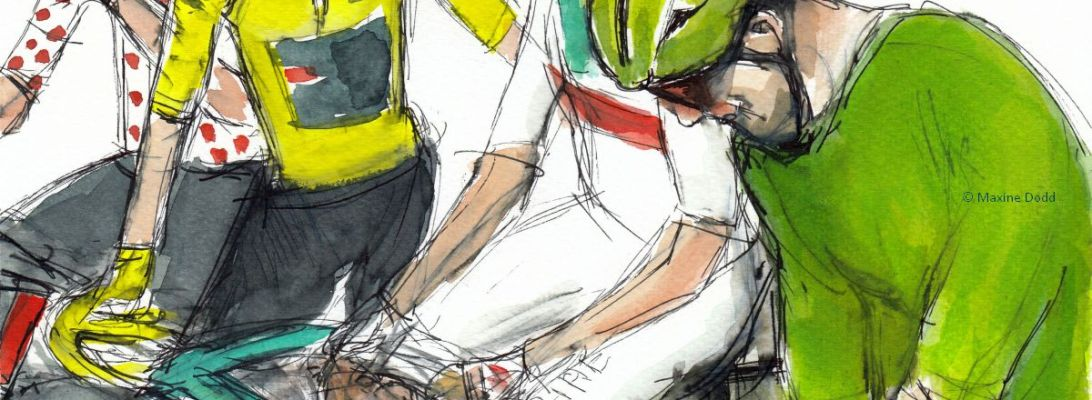 The meeting of the shirts, watercolour, pen and ink by Maxine Dodd