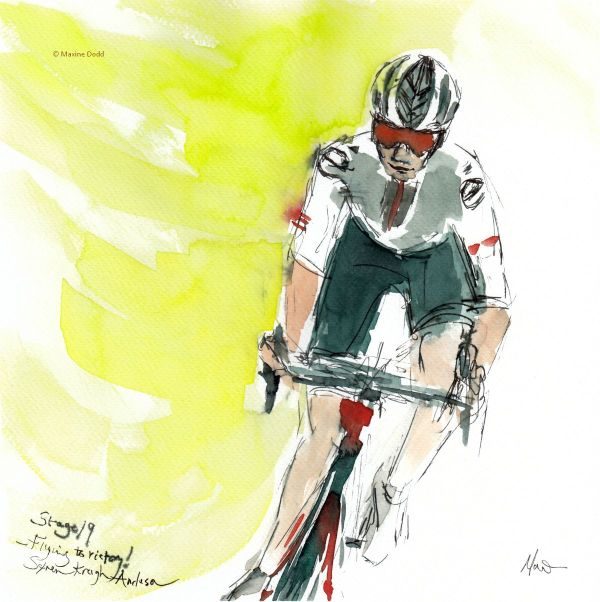 Søren Kragh Anderson flying to victory! Watercolour, pen and ink by Maxine Dodd