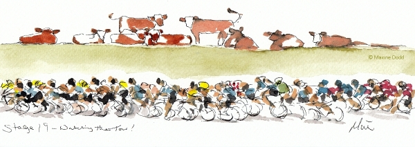 Watching Le Tour, watercolour, pen and ink, by Maxine Dodd