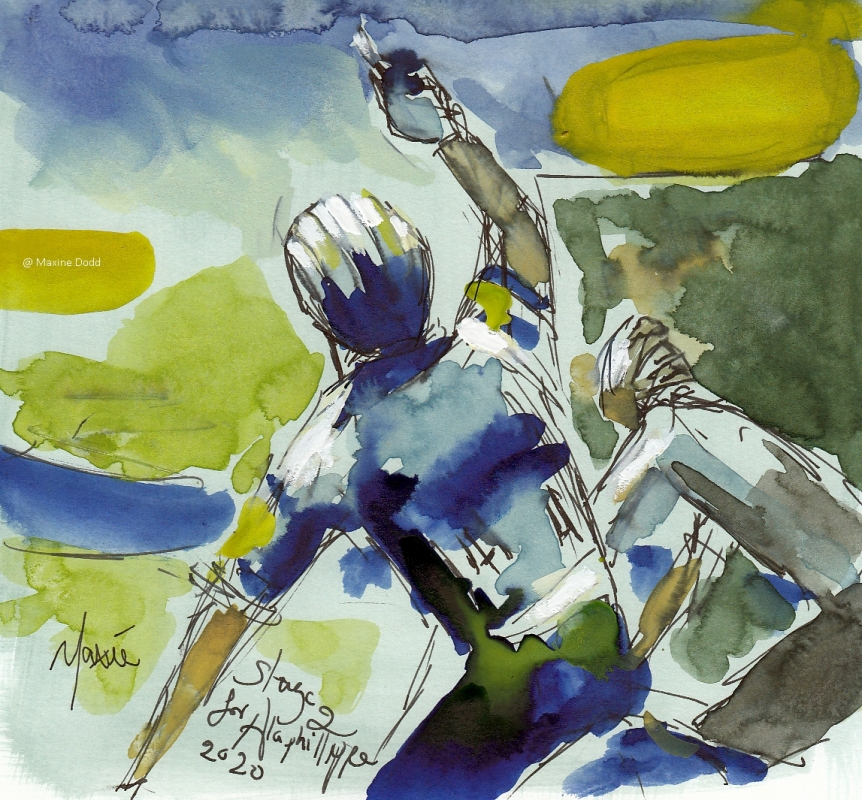 A tribute win for Alaphilippe, watercolour, pen and ink, by Maxine Dodd